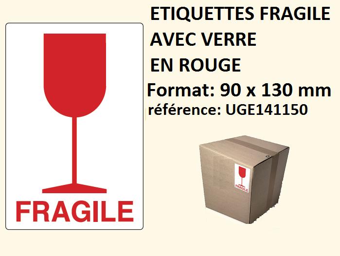 Super étiquette fragile verre imprimé rouge pour livraison paquet coli BH34