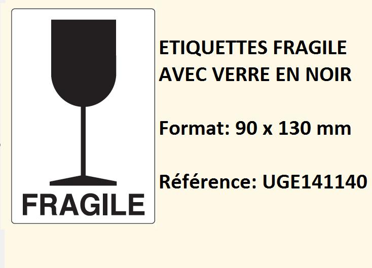 Exceptionnel étiquette fragile verre imprimé noir pour paquet colis pochette IH14