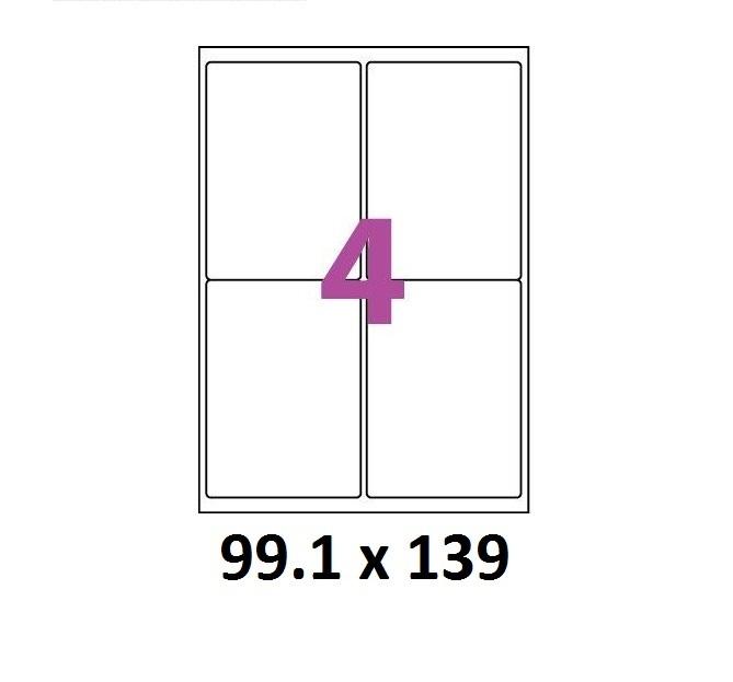 feuille a4 avec 4 tiquettes autocollantes 99 x 139 adh sive. Black Bedroom Furniture Sets. Home Design Ideas