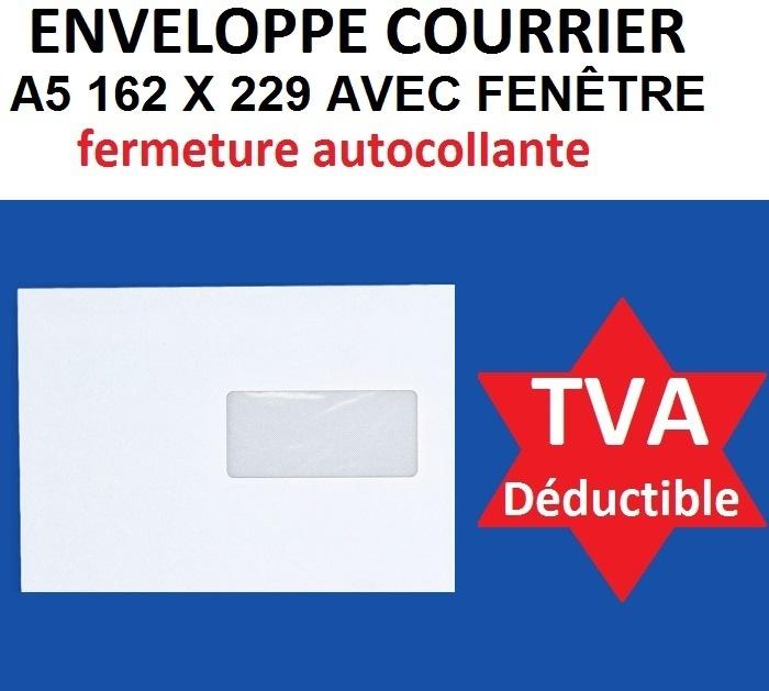 Enveloppe c5 a5 blanche avec fen tre 162 x 229 mm bande for Pellicule autocollante pour fenetre