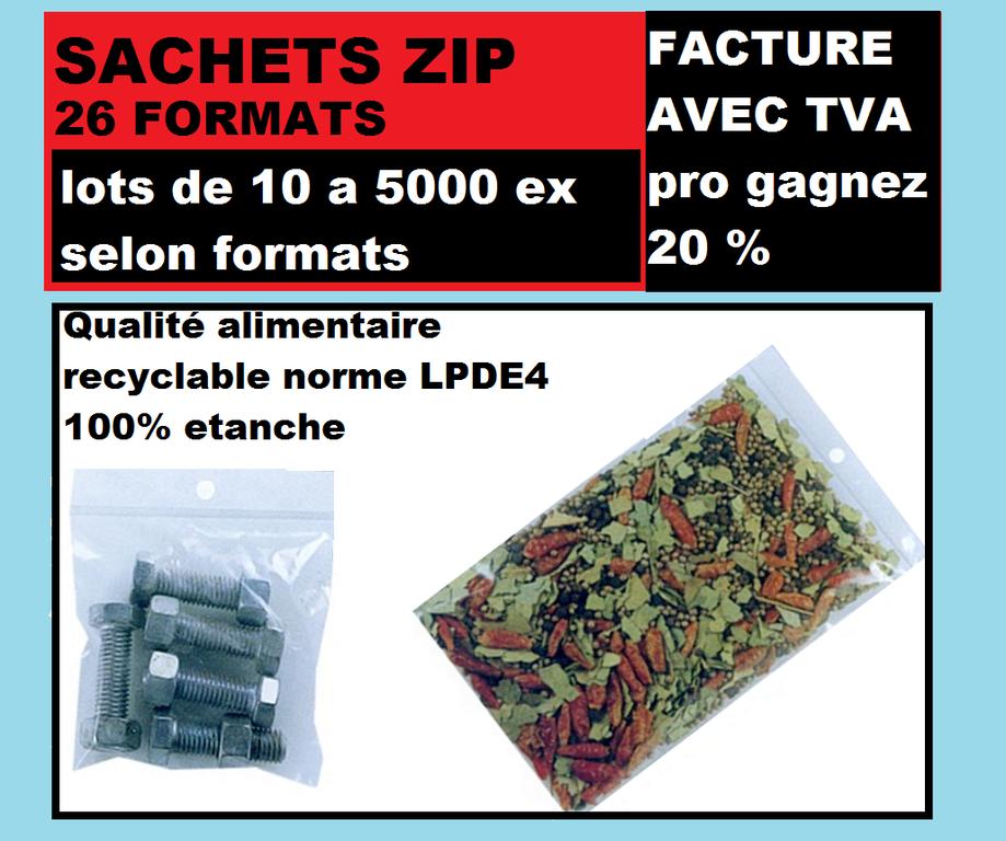 Lot de 100 sachets avec fermeture par pression 60 x 80 cm noir