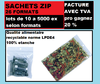 Sachet 60 x 80 mm  fermeture ZIP Transparent 50u