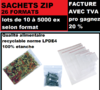 Sachet 80 x 120 mm  fermeture ZIP Transparent 50u