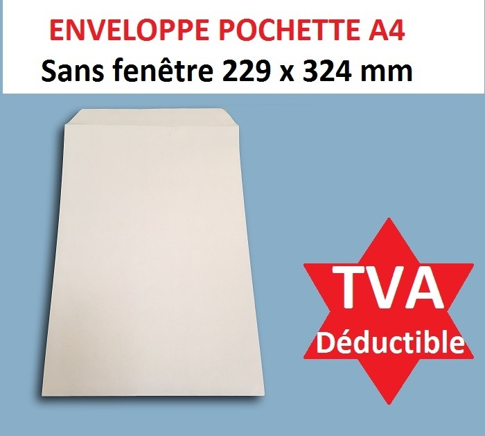 enveloppe pochette courrier a4 papier kraft blanc 90g 229