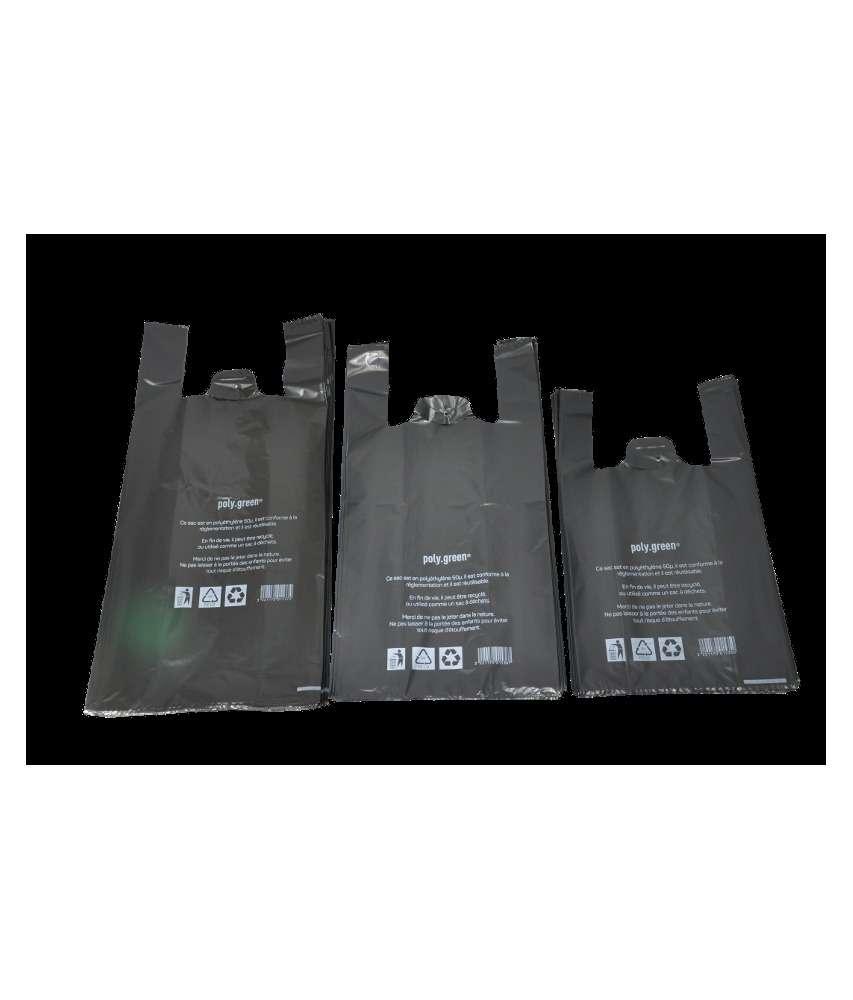 65489633ace45 sac plastique à bretelle noir 50 microns réutilisable 54 x 30 cm
